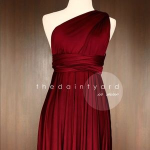 Wine Red Convertible Dress - one size